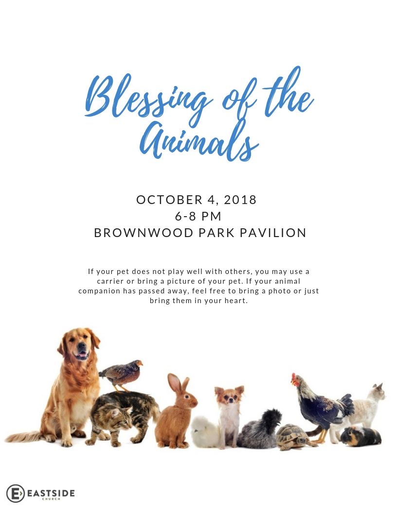 Blessing of the Animals flyer -